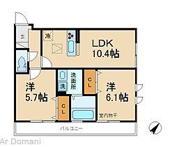 千葉県松戸市二十世紀が丘中松町の賃貸アパートの間取り