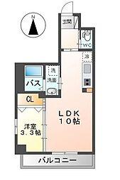 JR鹿児島本線 竹下駅 徒歩14分の賃貸マンション 2階1LDKの間取り
