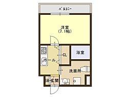 Osaka Metro千日前線 今里駅 徒歩1分の賃貸マンション 2階1Kの間取り