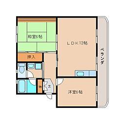 静岡県静岡市清水区村松の賃貸マンションの間取り