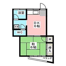 村田ハイツ 2階1DKの間取り