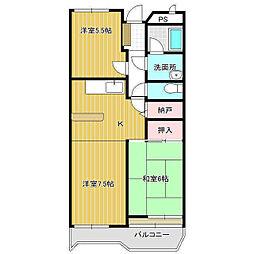 ガーデンヒルズ久松 5階3DKの間取り