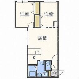 北海道札幌市豊平区平岸二条8丁目の賃貸マンションの間取り