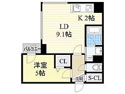 札幌市電2系統 西線16条駅 徒歩2分の賃貸マンション 2階1LDKの間取り