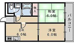グロー駒川中野[702号室]の間取り