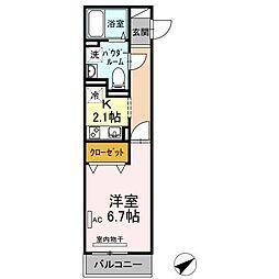 ラプンツェル 2階1Kの間取り