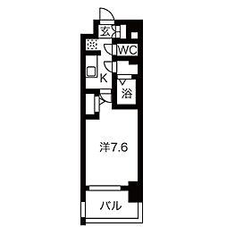 名古屋市営鶴舞線 上前津駅 徒歩8分の賃貸マンション 8階1Kの間取り