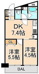 東京都台東区蔵前3丁目の賃貸マンションの間取り