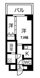 Osaka Metro谷町線 東梅田駅 徒歩6分の賃貸マンション 2階1Kの間取り