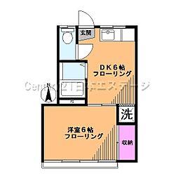 東京都品川区旗の台2丁目の賃貸アパートの間取り