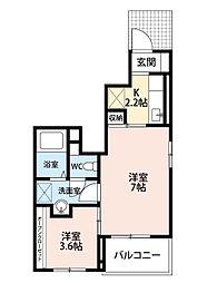 福岡県北九州市八幡西区三ケ森2丁目の賃貸アパートの間取り