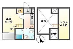 愛知県名古屋市中川区五女子2丁目の賃貸アパートの間取り