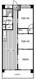 シャトー西梅田[7階]の間取り