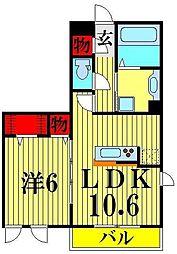 埼玉県越谷市レイクタウン9丁目の賃貸アパートの間取り