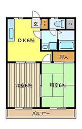 コ−ポ英[302号室]の間取り