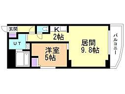 プルミエール札幌 7階1LDKの間取り