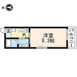 京都地下鉄東西線 東山駅 徒歩3分の賃貸マンション 4階1Kの間取り