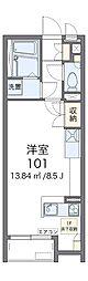 南海高野線 大阪狭山市駅 徒歩10分の賃貸アパート 2階ワンルームの間取り
