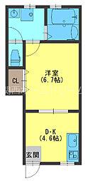 京阪本線 寝屋川市駅 徒歩11分の賃貸アパート 1階1DKの間取り