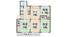 公社清和台住宅団地22号棟[105号室]の間取り