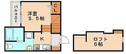 JR鹿児島本線 香椎駅 徒歩10分の賃貸アパート 2階ワンルームの間取り