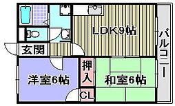 ハートフル岸和田[303号室]の間取り