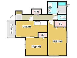 兵庫県小野市本町1丁目の賃貸アパートの間取り