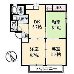 広島県福山市西新涯町2丁目の賃貸アパートの間取り