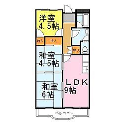 兵庫県姫路市飾磨区細江の賃貸マンションの間取り