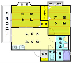 コーポ誠B[2階]の間取り
