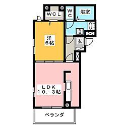 荒井アパートB(仮)[1階]の間取り