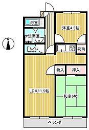 ワイズマンション三郷[203号室]の間取り
