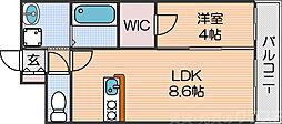 Osaka Metro四つ橋線 北加賀屋駅 徒歩8分の賃貸マンション 6階1LDKの間取り