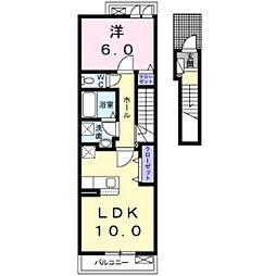 JR山陽本線 庭瀬駅 徒歩6分の賃貸アパート 2階1LDKの間取り