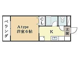 ハートフルマンション京田辺[3階]の間取り