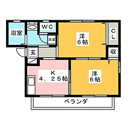 エスポワール藤C[1階]の間取り