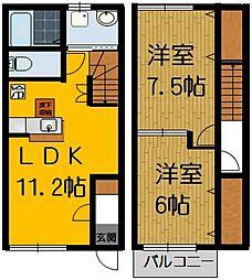 [テラスハウス] 茨城県筑西市辻 の賃貸【/】の間取り