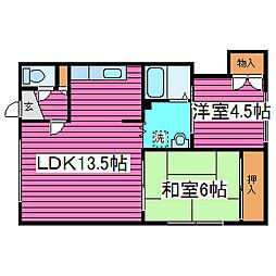 北海道札幌市東区北三十七条東9丁目の賃貸アパートの間取り
