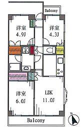 パルナシアン戸塚[2階]の間取り