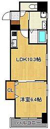 デザイナープリンセス・リバーサイド 10階1LDKの間取り