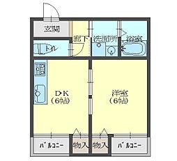 京阪本線 土居駅 徒歩4分の賃貸マンション 3階1DKの間取り