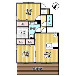 D-room小矢部 D棟 1階2LDKの間取り