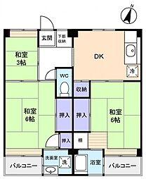 ビレッジハウス勝田2号棟[1階]の間取り