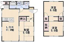 [一戸建] 岡山県岡山市南区福田 の賃貸【/】の間取り
