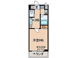 京阪本線 伏見桃山駅 徒歩4分の賃貸マンション 1階1Kの間取り