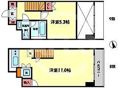 シティエール東梅田I 8階1LDKの間取り