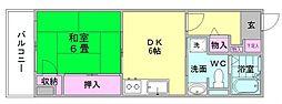 パロス美野島[4階]の間取り