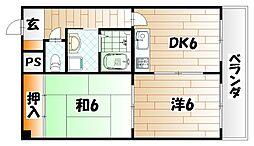 東大谷スカイハイツ[2階]の間取り