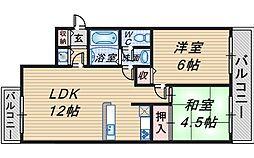 コート桜塚[202号室]の間取り