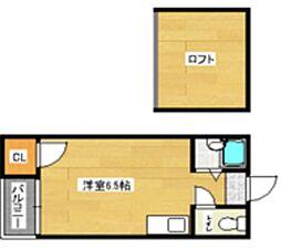 福岡県福岡市東区名島2丁目の賃貸アパートの間取り